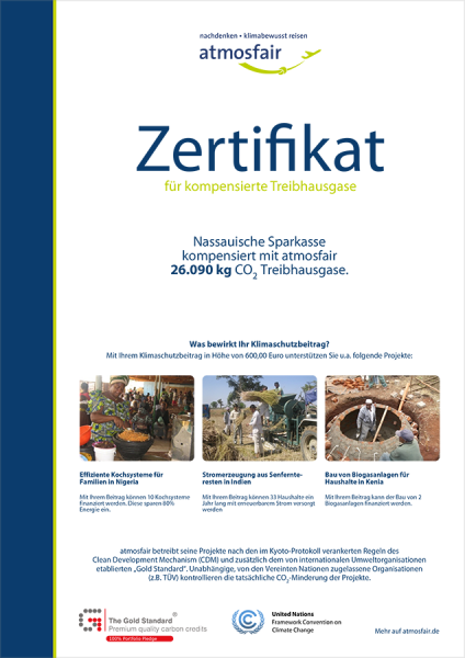 Umweltbelange-Atmosfair Zertifikat